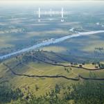 Die HD Discovery Station ermöglicht eine virtuelle Reise in die Zeit der Kelten. In dieser Perspektive erkennt man den inneren und äußeren Ringwall der Keltensiedlung auf dem Heiligenberg. Virtuelle Abbildung © MESO Digital Interiors