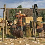 """Digitale Rekonstruktion eines Händlers mit Schnellwaage, wie sie innerhalb der """"Elsachstadt"""" gefunden wurde © 3dmuseum.eu"""